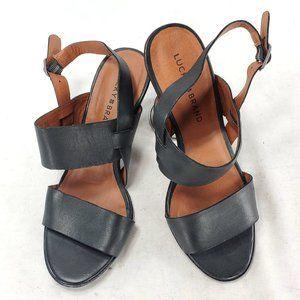 Lucky Brand Womens Leather Slingback Peeptoe Heels